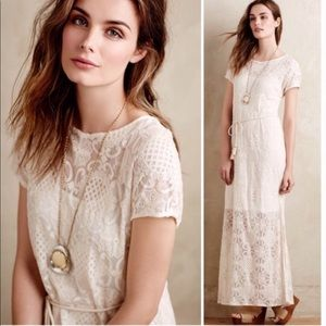 Anthropologie Lilka Bellflower Lace Maxi Dress